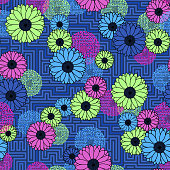 Colorful floral clash on geometric maze pattern neon colors