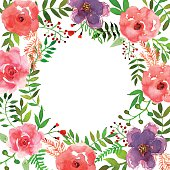 Colorful floral collection with leaves and flowers, drawing watercolor