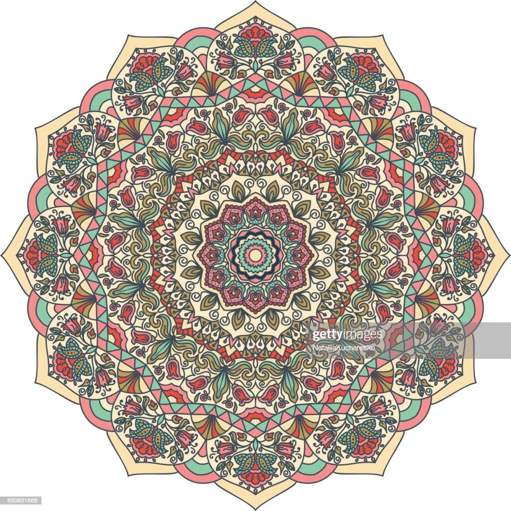 Colorful Floral hand drawn Mandala. Circle ornament in retro colors.