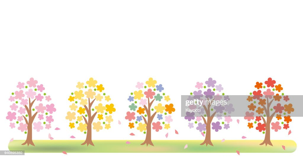 Colorful flower blooming tree - frame
