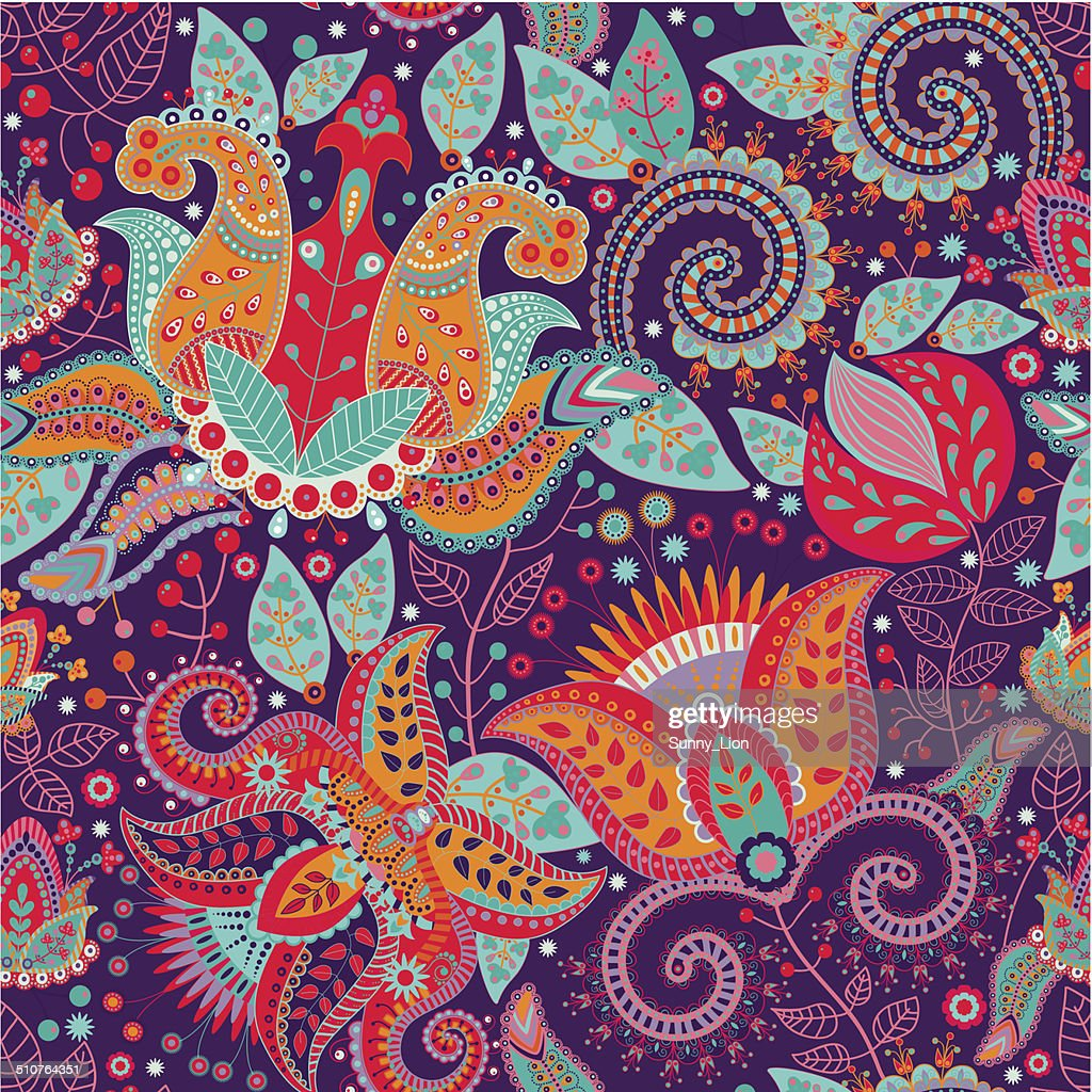 Colorful flower vector pattern