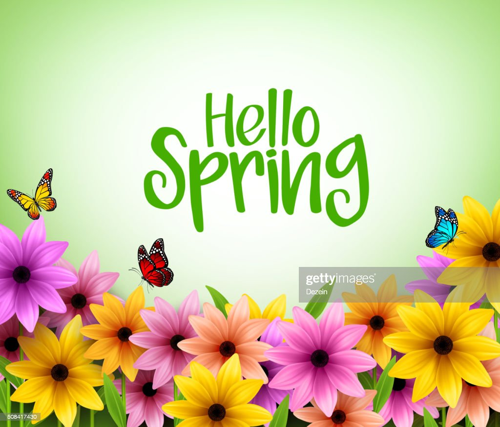 Colorful Flowers Background in 3D Realistic Vector for Spring