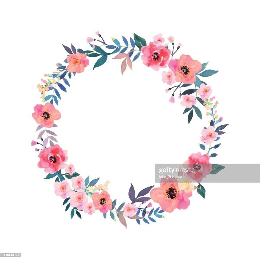 Colorful flowers wreath . Elegant floral collection with beautif