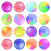 Colorful fluid, Round gradient set, modern abstract backgrounds.