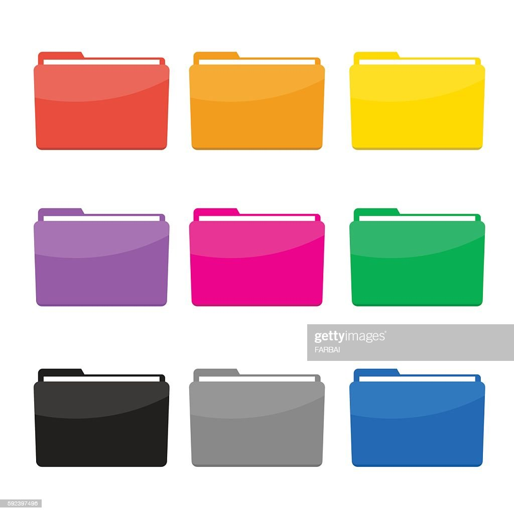 Colorful Folder Icons Set Vector