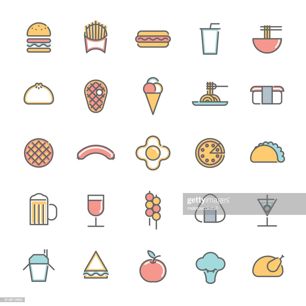 colorful food & drink minimalist line icon set