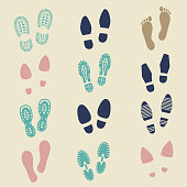 Colorful footprints - female, male and sport shoe