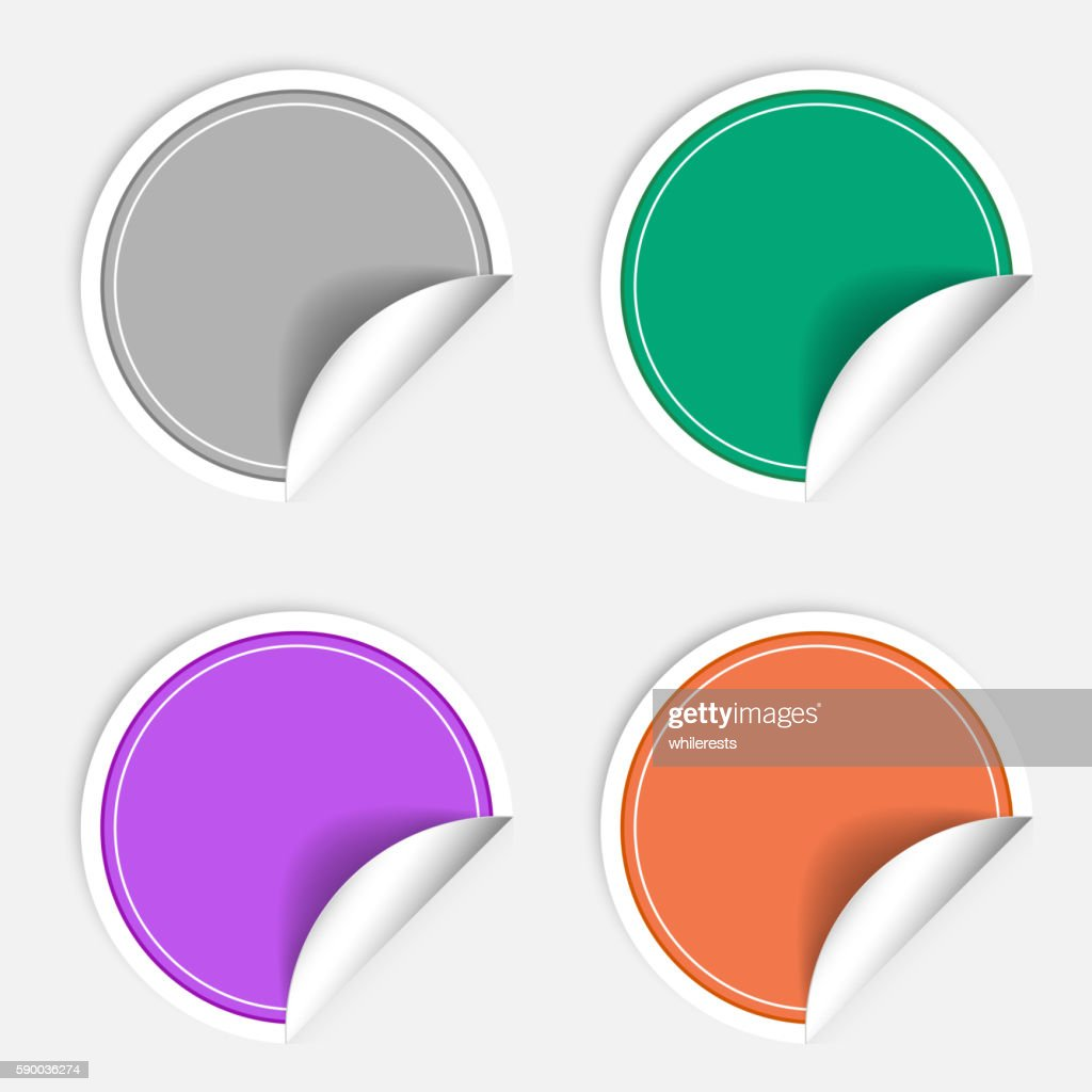Colorful four blank stickers set. Badge collection in different  colors