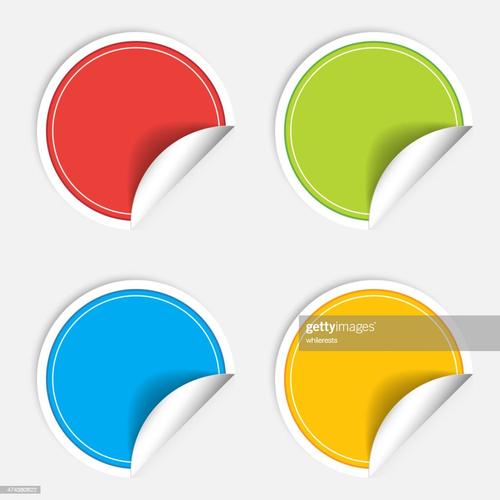 Colorful four blank stickers set. Badge collection. Vector illustration