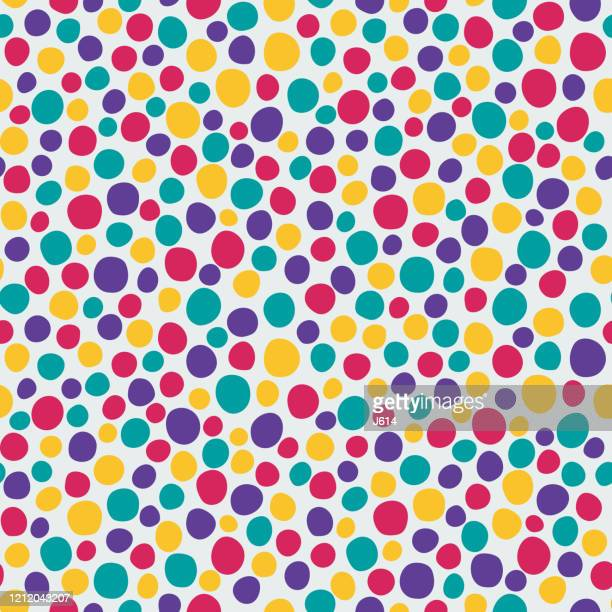 colorful freehand dots pattern - asymmetry stock illustrations