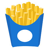 Colorful french fries potato chips fast food icon poster