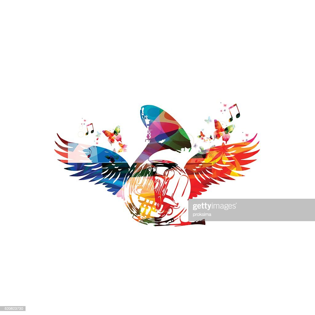 Colorful french horn with wings