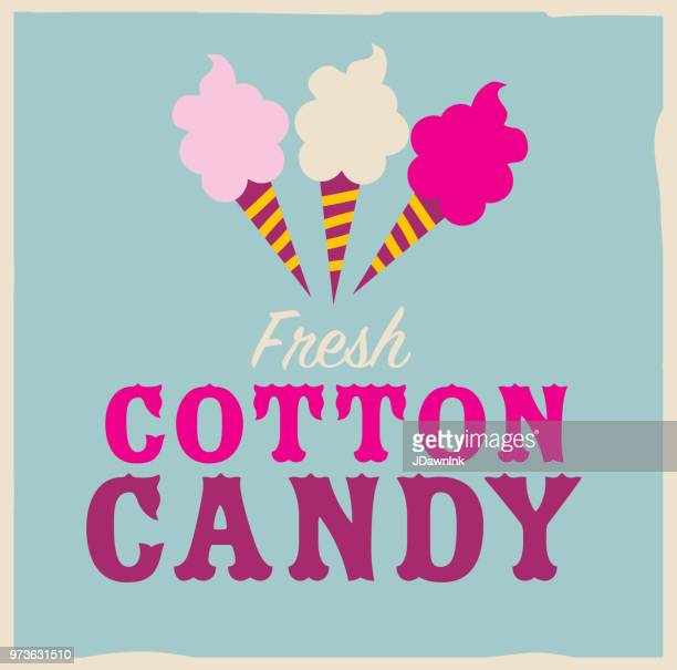 Colorful Fresh Cotton Candy emblem design template