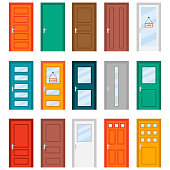 Colorful front doors to houses and buildings set in flat design style. Set of color door icons, vector illustration. Colourful realistic front doors collection