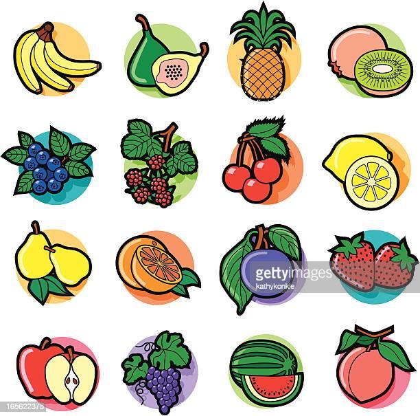 illustrations, cliparts, dessins animés et icônes de icônes colorées de fruits - ananas