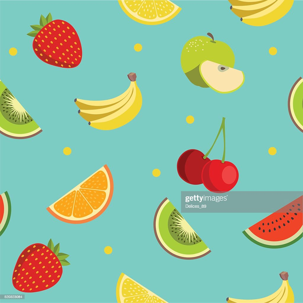 Colorful fruit pattern in flat design style. Seamless vector.