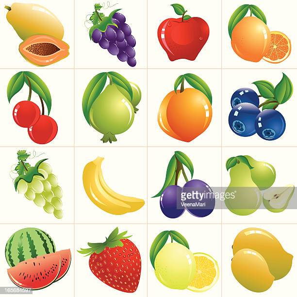colorful fruits/ icon set - blueberry stock illustrations, clip art, cartoons, & icons