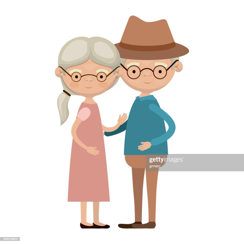 Colorful Full Body Elderly Couple Embraced Grandmother Ponytail