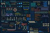 HUD Colorful Futuristic Elements Pattern Background Design Vector.