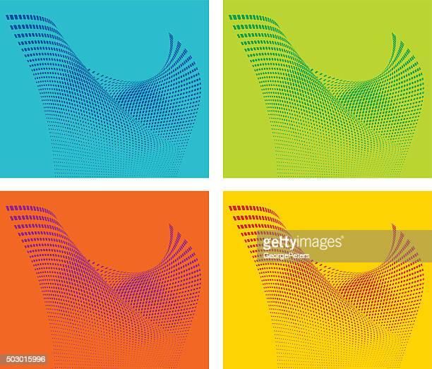 Coloré-teintes ondulés futuriste motif Grille