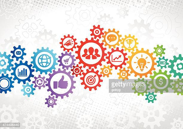 colorful gears business concept - cog stock illustrations