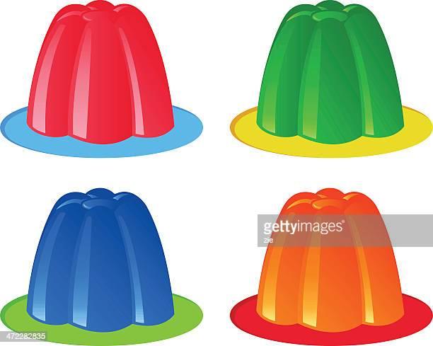 colorful gelatin - gelatin dessert stock illustrations