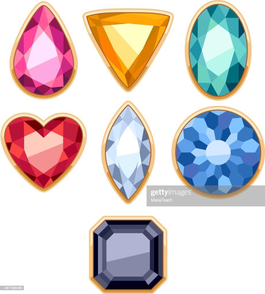 Colorful gemstones in golden rim vector illustration