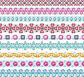 Colorful gemstones seamless horizontal borders set