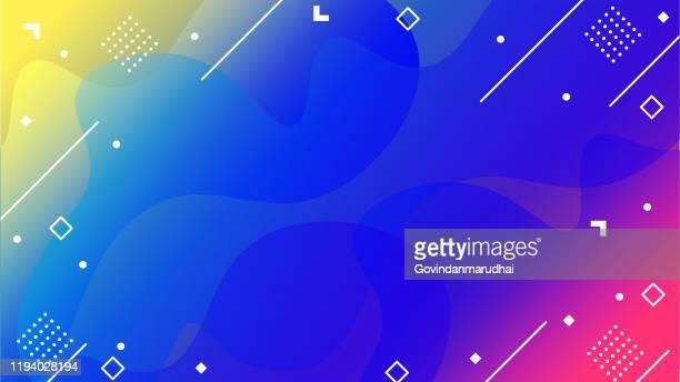 colorful geometric background. fluid shapes composition - design element stock illustrations