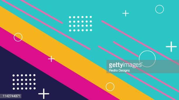 illustrazioni stock, clip art, cartoni animati e icone di tendenza di sfondo geometrico colorato - disinvolto