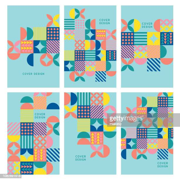 illustrazioni stock, clip art, cartoni animati e icone di tendenza di colorful geometric covers - forma geometrica