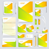 Colorful geometric set of vector corporate identity template. Modern stationery