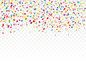 Colorful glitter confetti for decorative on holiday festival and celebration, falling on transparent background. Vector illustration
