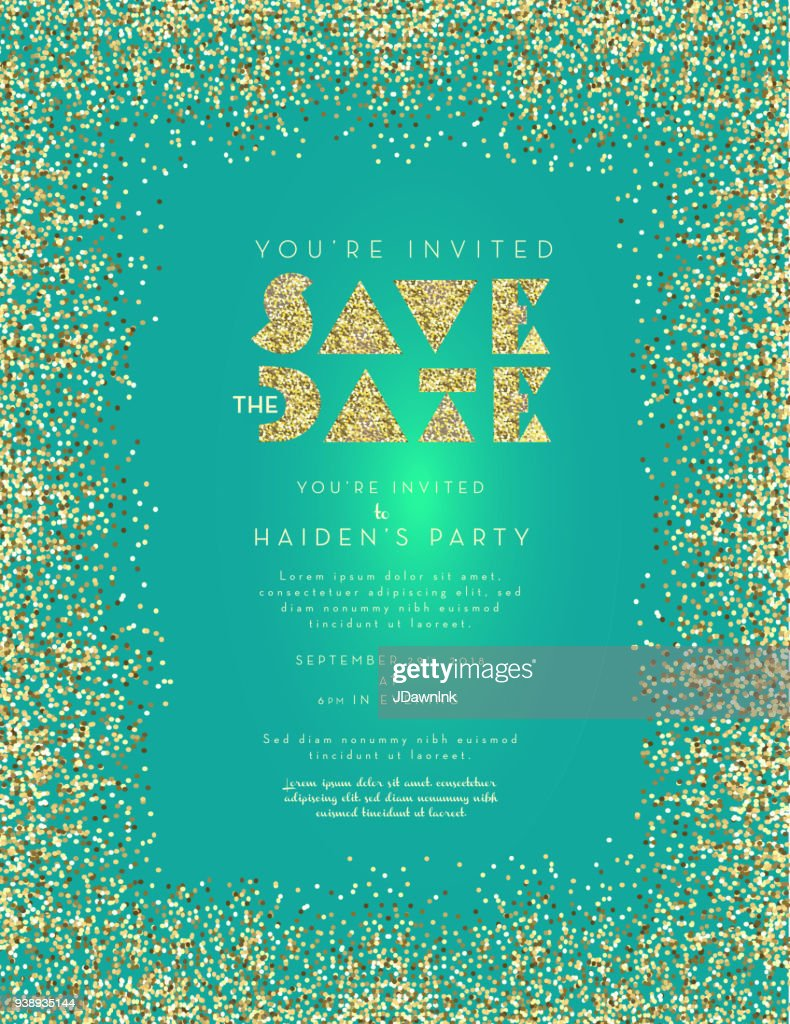 colorful glitter save the date invitation design layout template