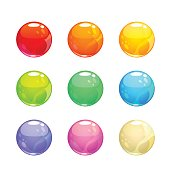 Colorful glossy bubbles set
