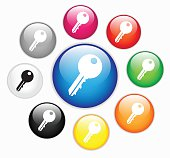 Colorful glossy button set with key icon vector