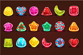 Colorful glossy candies, details for computers game, app interface vector Illustrations