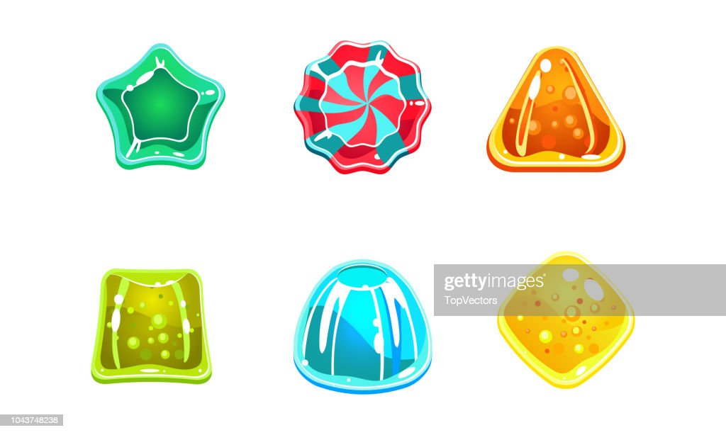 Colorful glossy candies set, sweets of different shapes, user interface assets for mobile apps or video games vector Illustration isolated on a white background