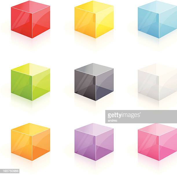 Colorful glossy transparent cubes - 3D series