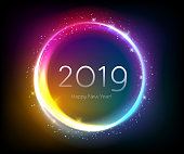 Colorful glow 2019 new year vector illustration.