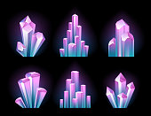 Colorful glowing crystals set