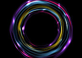 Colorful glowing electric neon rings circles background