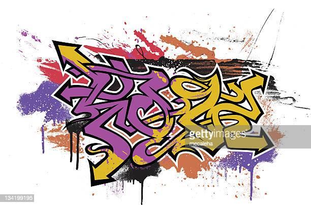 Colorful graffiti art on white background