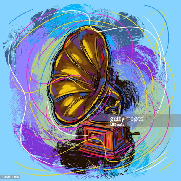colorful gramophone - gramophone stock illustrations, clip art, cartoons, & icons