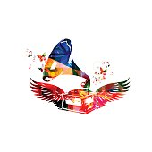 Colorful gramophone with wings