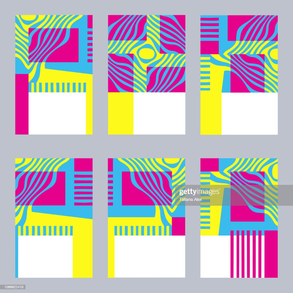 Colorful graphic set of card templates with stylized yellow, blue and pink pattern.