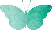 colorful green watercolor butterfly