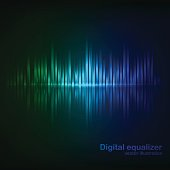 Colorful green-blue digital shining equalizer