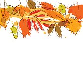 Colorful grunge autumn leaves stripe border background, vector