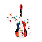 Colorful guitar and wine design